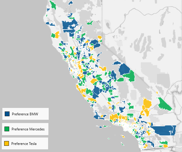 Brand Preference in California at ZCTA level